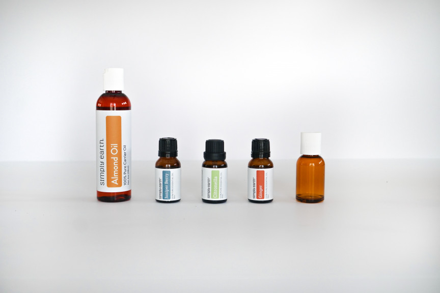 Essential oils, almond oil, and bottle