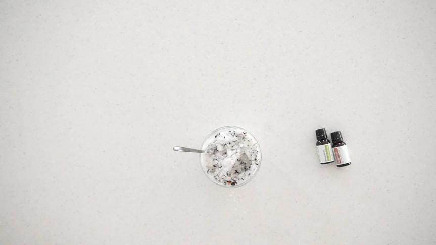 Pour salt into sealable container
