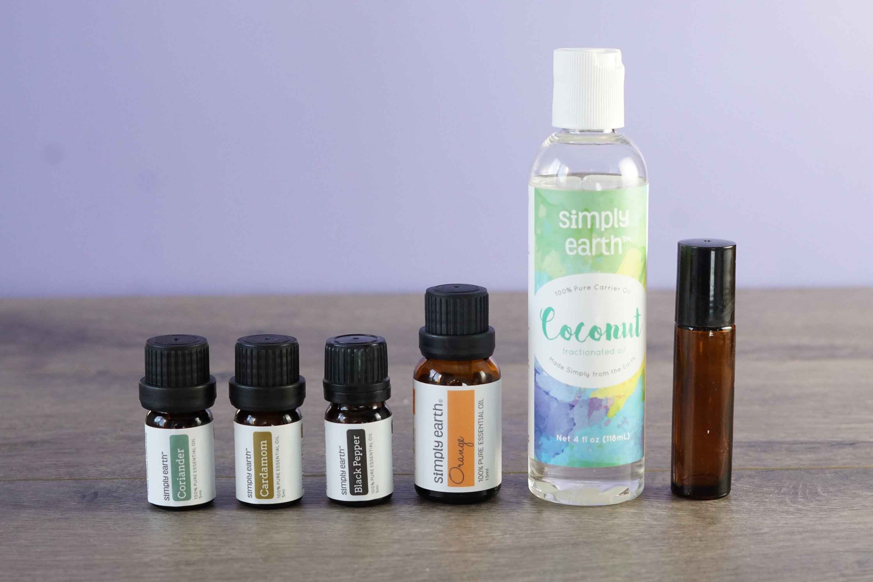Essential oils with coconut oil and roll-on bottle