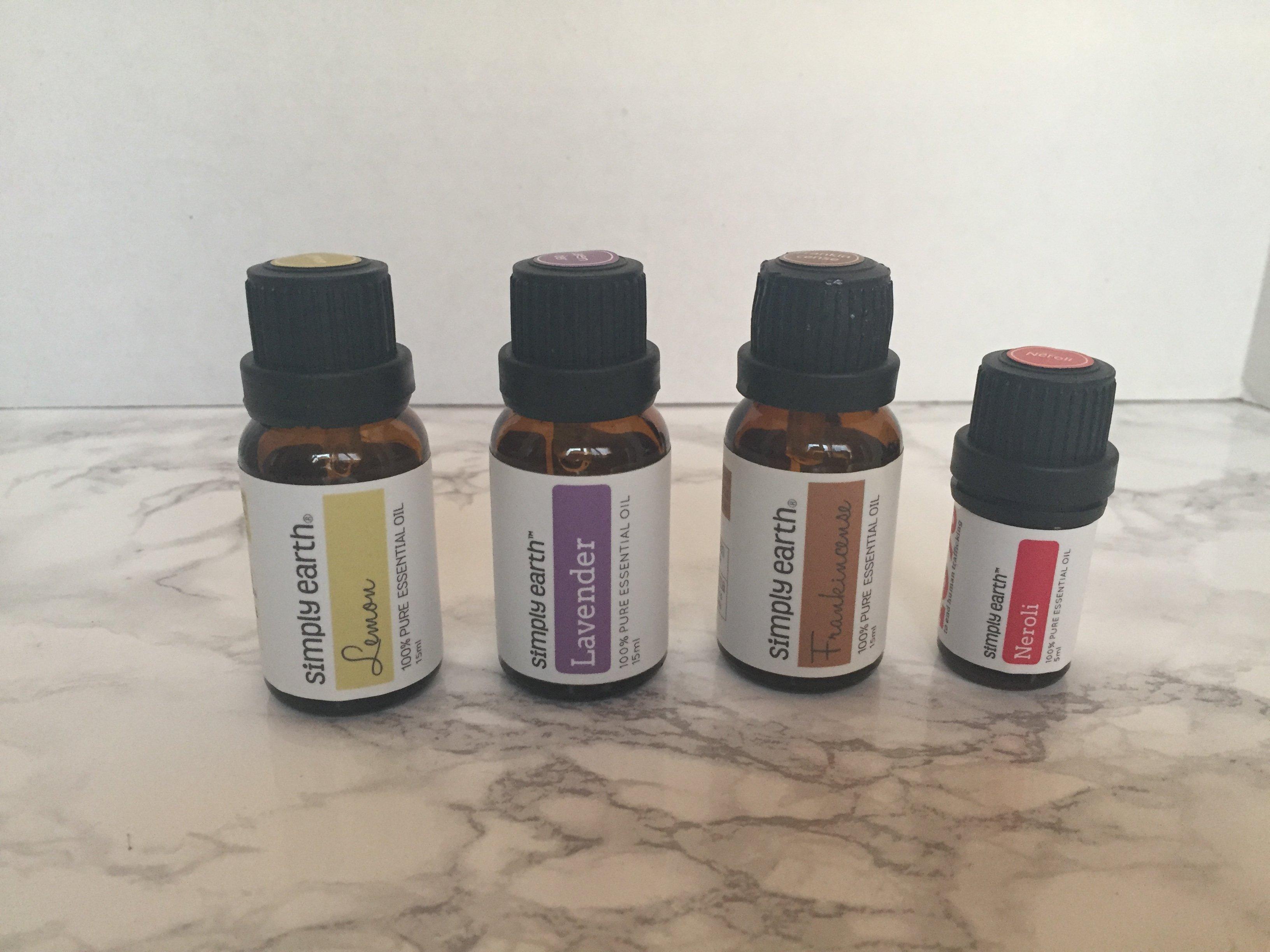 stretch mark serum with Lemon, Lavender, Frankincense, and Neroli essential oils.