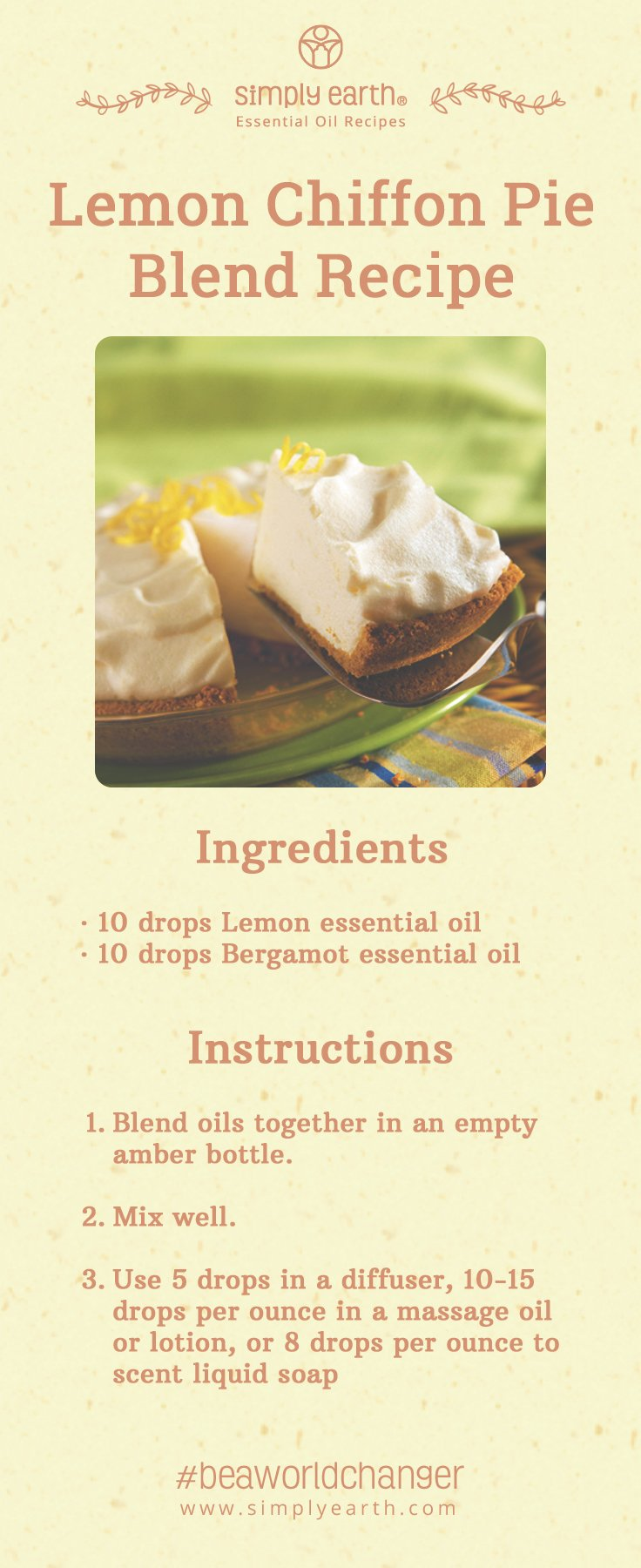 Lemon Chiffon Pie blend recipe with ingrediets and instructions.