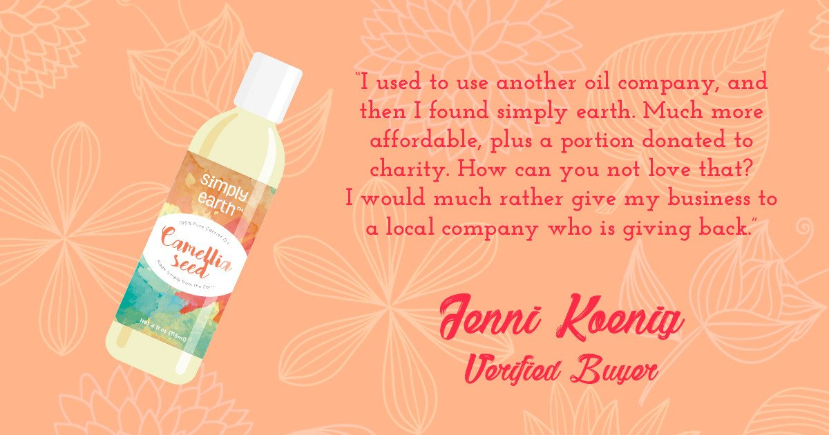 Camellia seed oil and Simply Earth review.