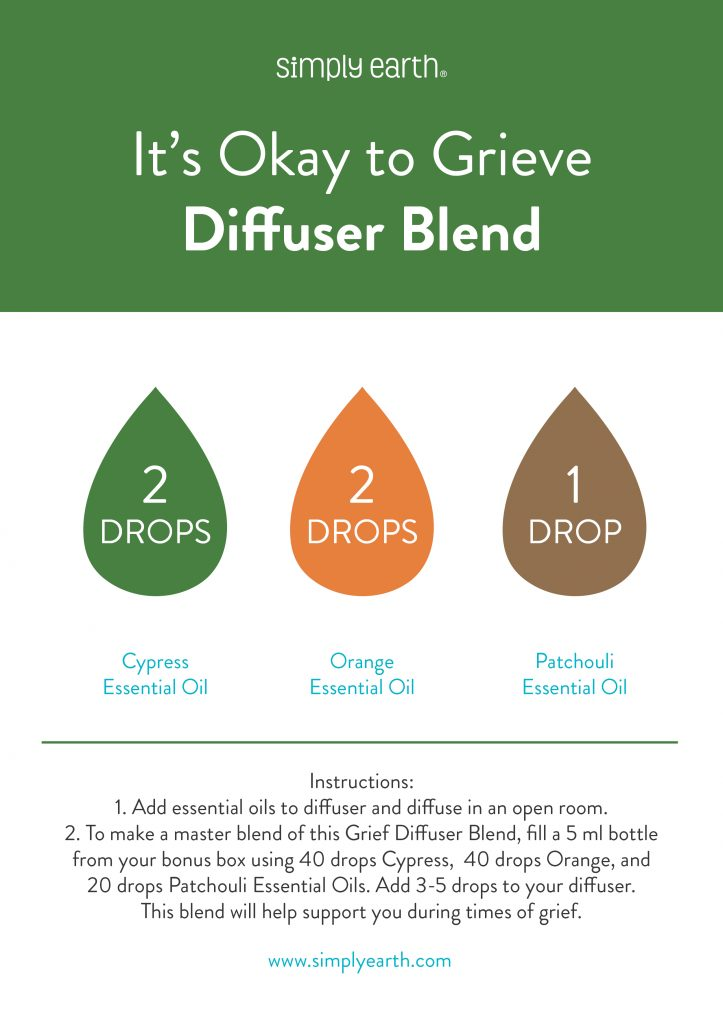 Essential Oils for Grief and Loss, Its okay to grieve diffuser blend